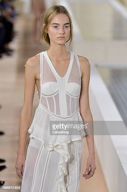 Wearing the latest shapewear lingerie look trend a model walks the Balenciaga fashion show runway at the spring summer 2016 women's readytowear...