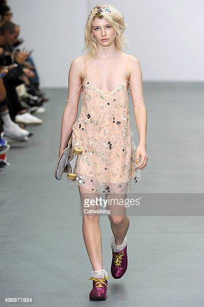 Wearing the latest slip lingerie trend a model walks the Ashish fashion show runway at the spring summer 2016 women's readytowear fashion weeks...