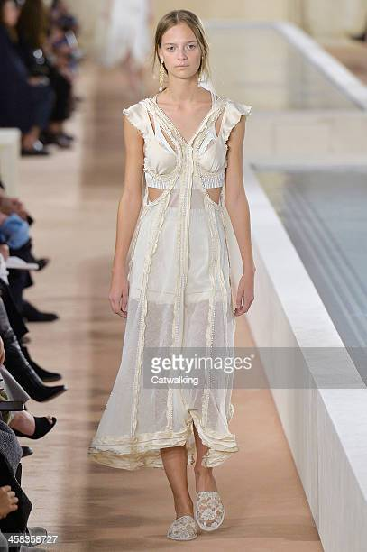 Wearing the latest slip lingerie trend a model walks the Balenciaga fashion show runway at the spring summer 2016 women's readytowear fashion weeks...
