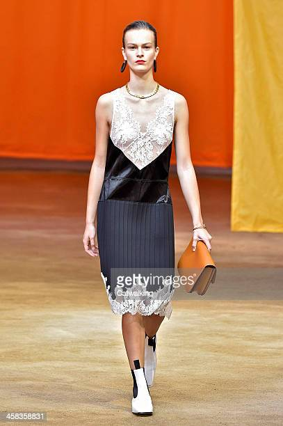 Wearing the latest slip lingerie trend a model walks the Celine fashion show runway at the spring summer 2016 women's readytowear fashion weeks...