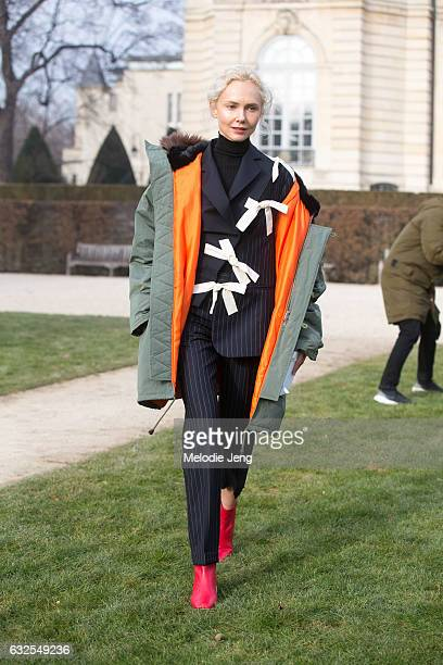 wears a Martine Rose jacket and Jacquemus top at the Dior Couture show at Musee Rodin on January 23 2017 in Paris France