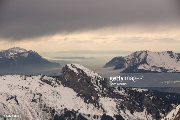 Weather closing in over the French mountain resort of Morzine on 23rd March 2017 in the heart of the Portes du Soleil in France