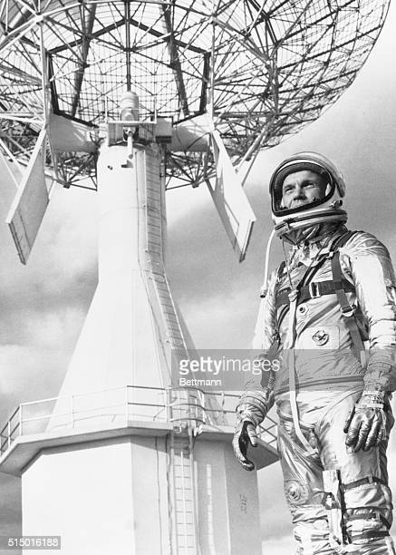 Weather Clouds Flight Chances Cape Canaveral Florida Astronaut John H Glenn Jr dressed in his space suit stands in front of a Project Mercury...