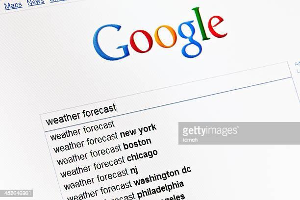 天気予報に google の検索フィールドに