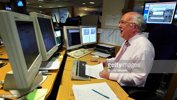 TV weather forecaster Michael Fish spends his last day at his desk before retiring after 30 years at BBC Television Centre White City October 6 2004...