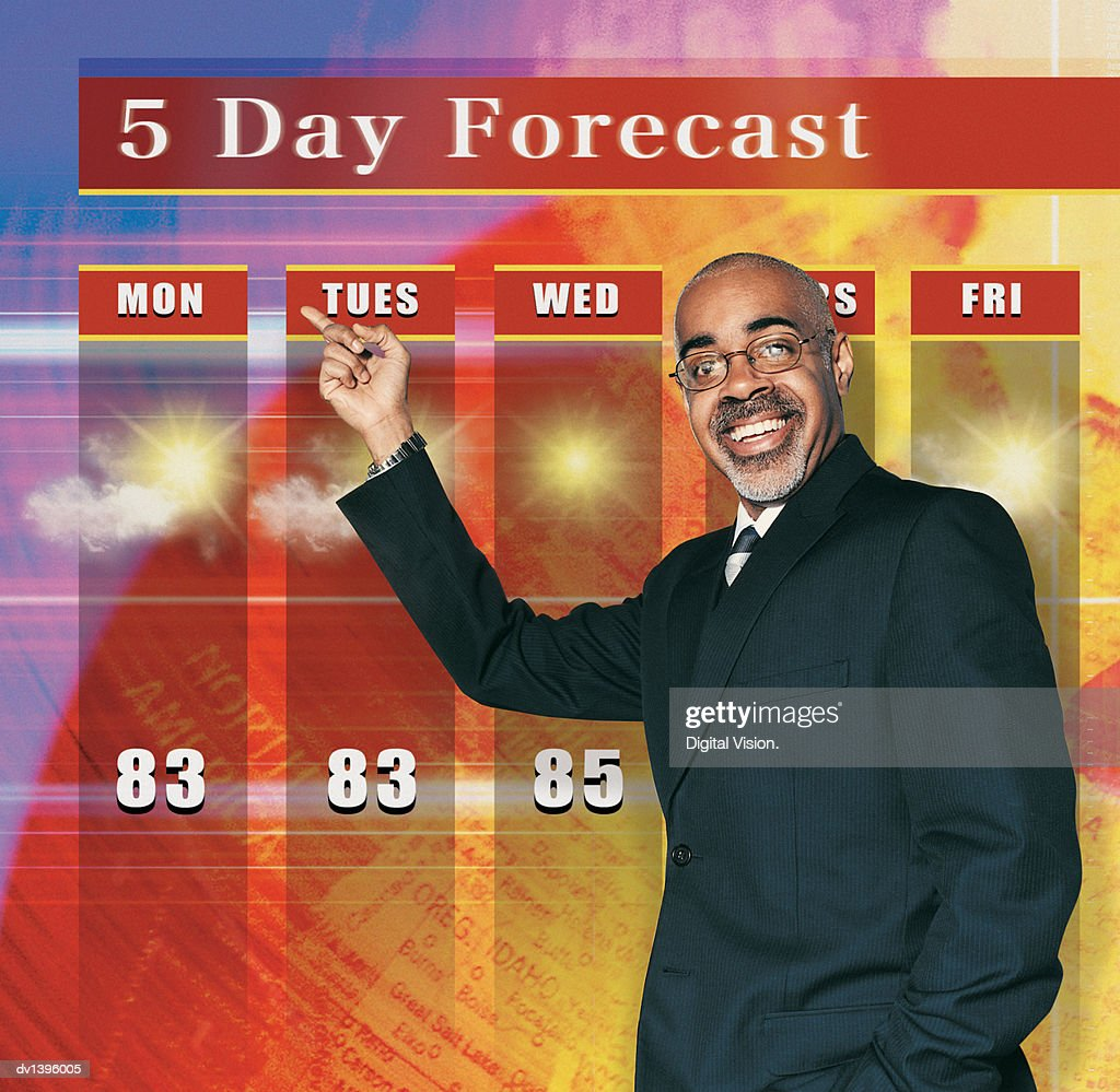 TV Weather Presenter : Stock Photo