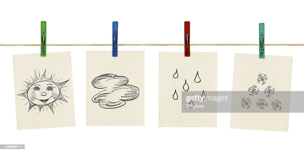 Weather Symbols Pinned To A Washing Line Stock Photo Getty Images