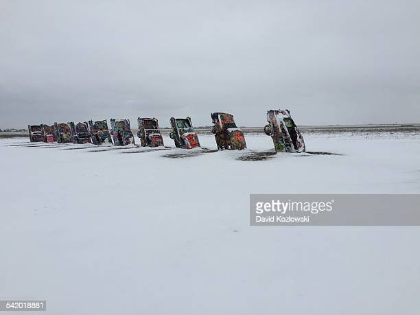 Weather Texas Snow Storm Panhandle Amarillo West cadillac Ranch Route 66 landmark