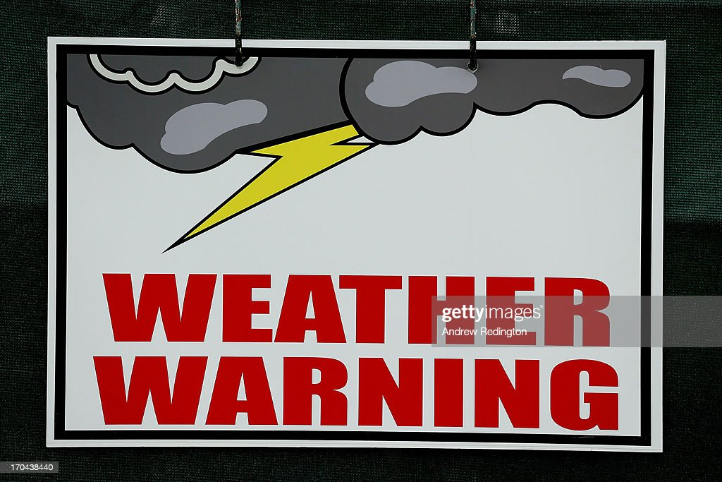A weather warning sign is seen during Round One of the 113th U.S. Open at Merion Golf Club on June 13, 2013 in Ardmore, Pennsylvania.