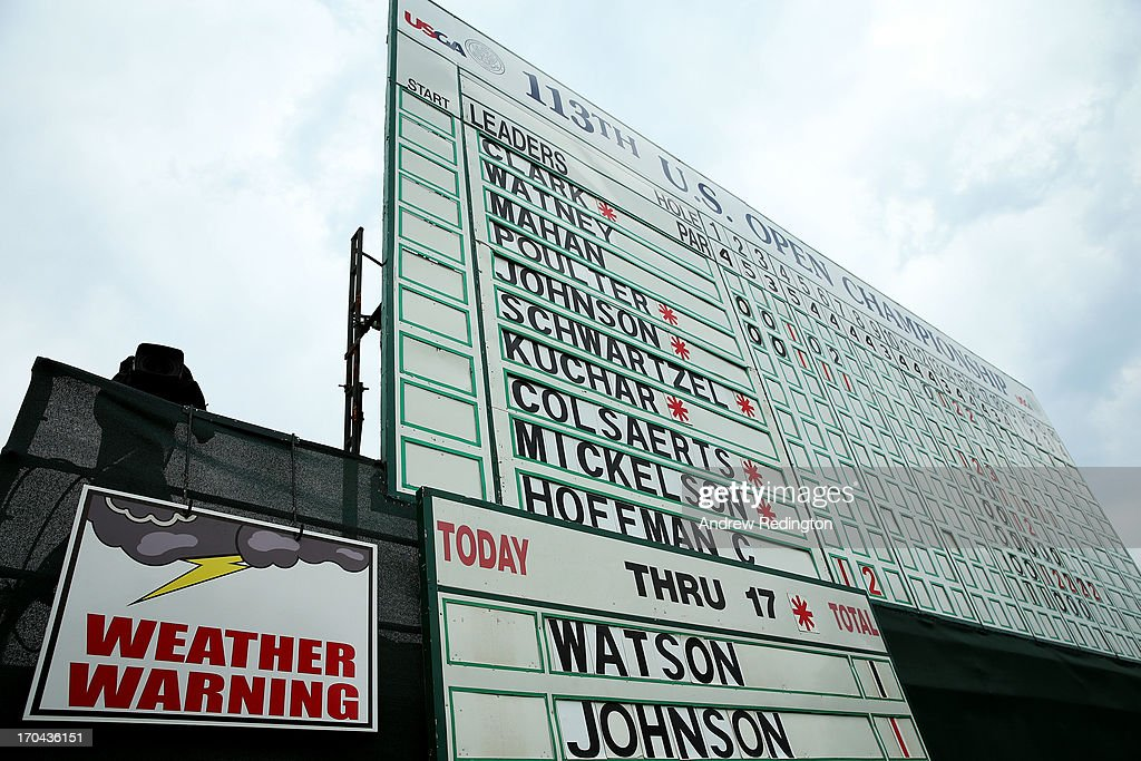 A weather warning sign is seen on a leaderboard on the 18th hole during Round One of the 113th U.S. Open at Merion Golf Club on June 13, 2013 in Ardmore, Pennsylvania.