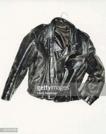 Weatherbeaten black leather jacket