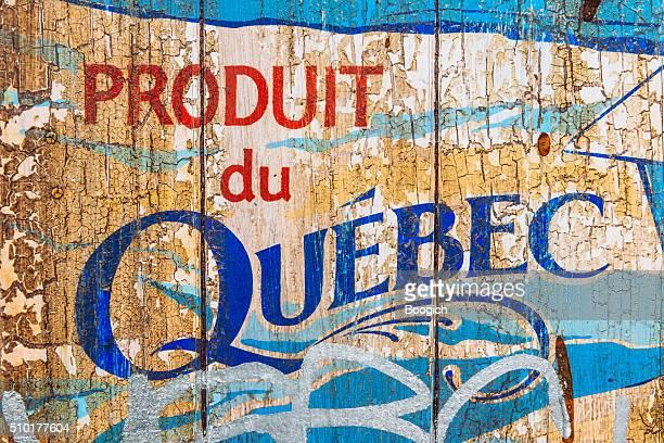Invecchiato Montreal segnaletica Vintage con testo Produit du Quebec