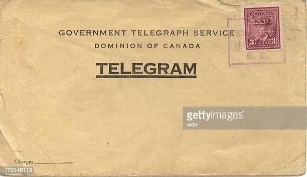 Weathered posted telegram envelope