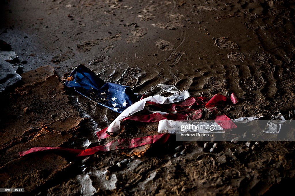 A weathered wind sock lies on the ground at the heavily damaged Keansburg Amusement Park after Superstorm Sandy swept across the region, on November 1, 2012 in Keansburg, New Jersey. Superstorm Sandy, which has left millions without power or water, continues to effect business and daily life throughout much of the eastern seaboard.