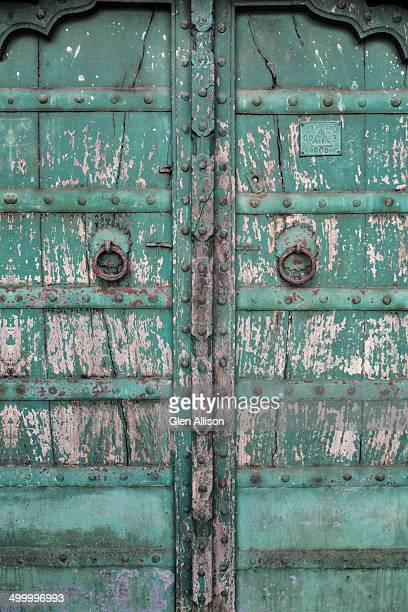 Weathered wooden double door