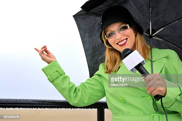 Weathergirl Smiles at Clearing Weather