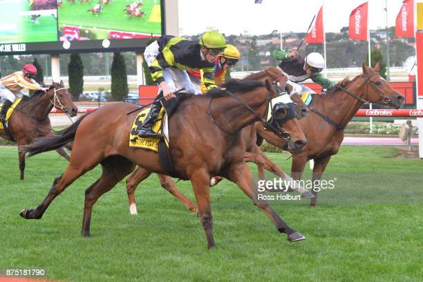 Weave ridden by Ben Allen wins the Xmas at officialmemorabiliacomau Handicap at Moonee Valley Racecourse on November 17 2017 in Moonee Ponds Australia