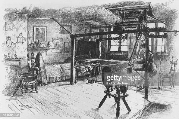 A weaver of French Huguenot descent working at a loom Spitalfields London circa 1850