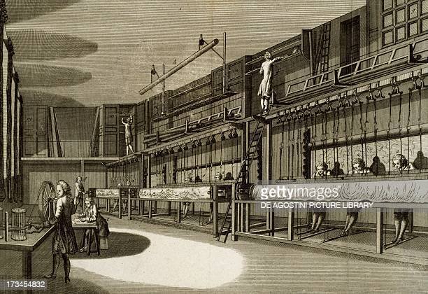 Weaving in the Gobelins Basse Lisse factory engraving by Robert Benard from a drawing by LouisFrancois PetitRadel from the French Encyclopedia or...