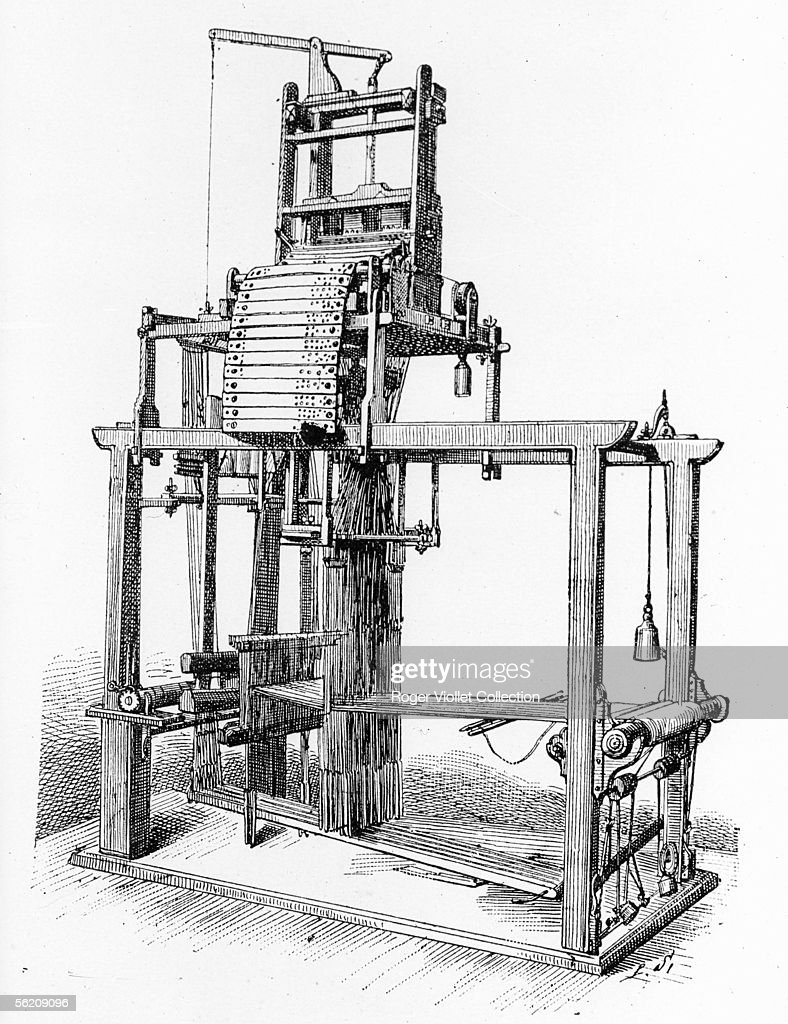 Weaving loom invented by Jacquard for the weaving of the silk Engraving XIXth century