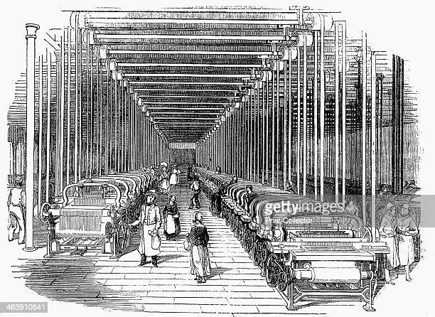 Weaving shed fitted with rows of power looms driven by belt and shafting c1840