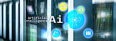 Artificial intelligence hi-tech business technologies concept. Futuristic server room background. AI.