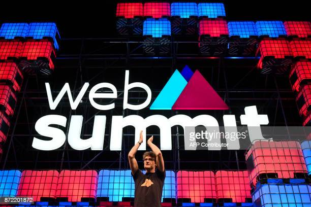Web Summit's cofounder and entrepreneur Paddy Cosgrave delivers his final speech during the 2017 Web Summit in Lisbon on November 9 2017 Europe's...