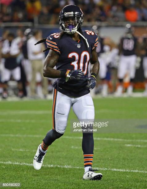 W Webb of the Chicago Bears awaits the snap during a preseason game against the Denver Broncos at Soldier Field on August 10 2017 in Chicago Illinois...