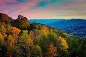 Webb Overlook in Great Smoky Mountains National Park at sunset in October