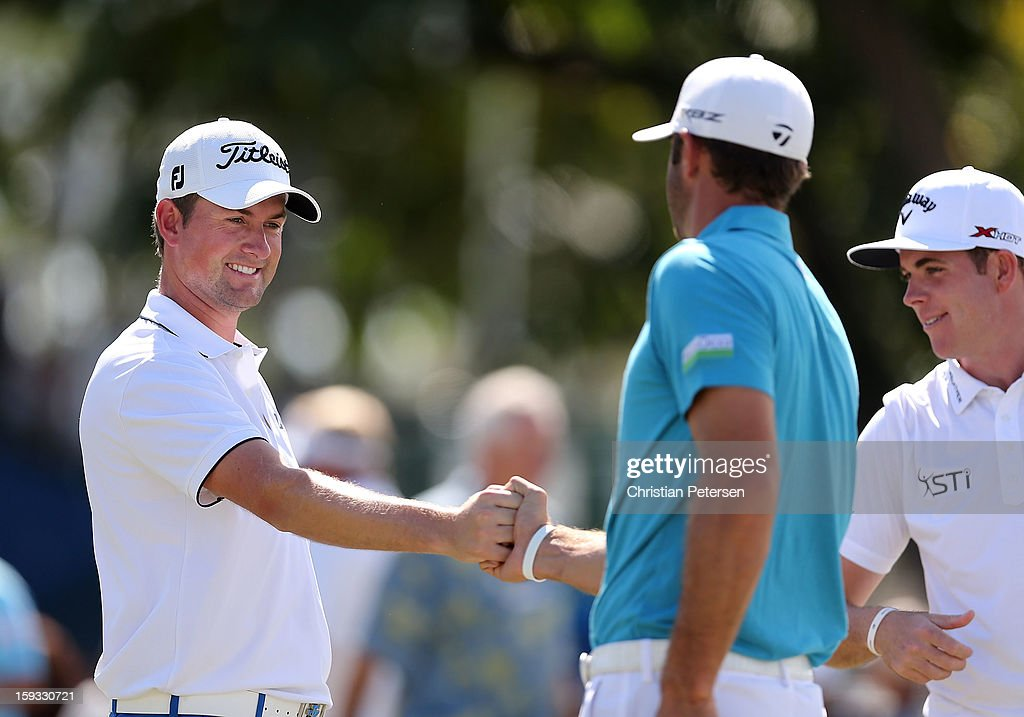 <a gi-track='captionPersonalityLinkClicked' href=/galleries/search?phrase=Webb+Simpson&family=editorial&specificpeople=4466575 ng-click='$event.stopPropagation()'>Webb Simpson</a>, <a gi-track='captionPersonalityLinkClicked' href=/galleries/search?phrase=Dustin+Johnson&family=editorial&specificpeople=3908453 ng-click='$event.stopPropagation()'>Dustin Johnson</a> and Luke List talk on the practice putting green before the second round of the Sony Open in Hawaii at Waialae Country Club on January 11, 2013 in Honolulu, Hawaii.