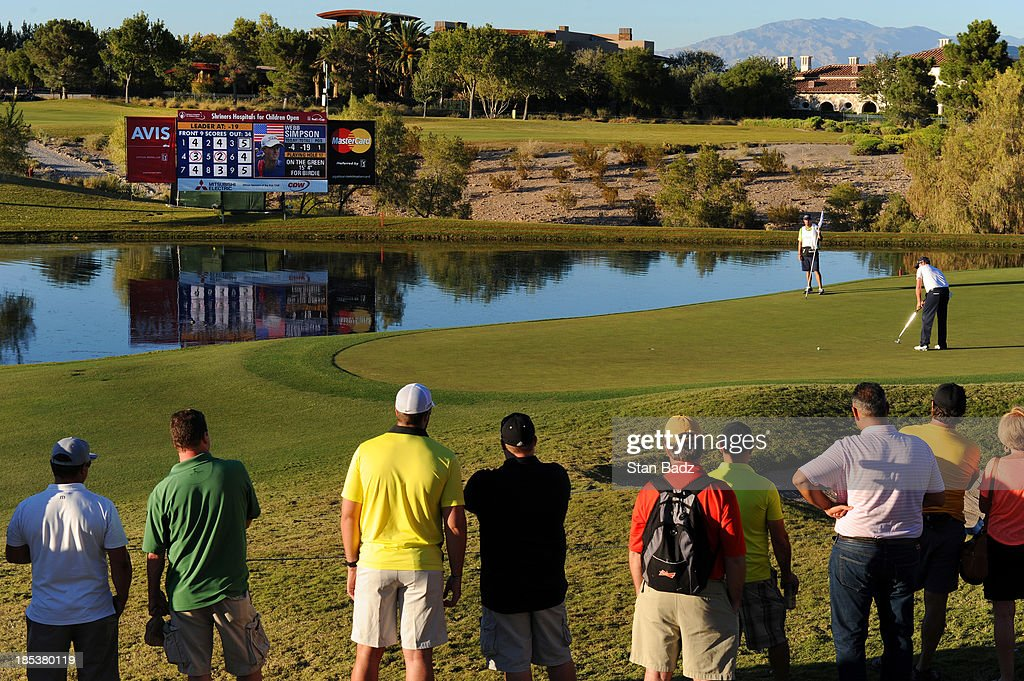 <a gi-track='captionPersonalityLinkClicked' href=/galleries/search?phrase=Webb+Simpson&family=editorial&specificpeople=4466575 ng-click='$event.stopPropagation()'>Webb Simpson</a> hits a putt on the 17th green during the third round of the Shriners Hospitals for Children Open at TPC Summerlin on October 19, 2013 in Las Vegas, Nevada.