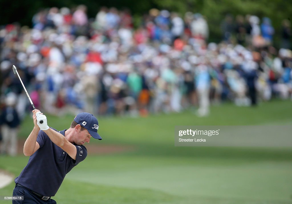 Webb Simpson hits a shot on the fifth hole during the second round of the 2016 Wells Fargo Championship at Quail Hollow Club on May 6, 2016 in Charlotte, North Carolina.
