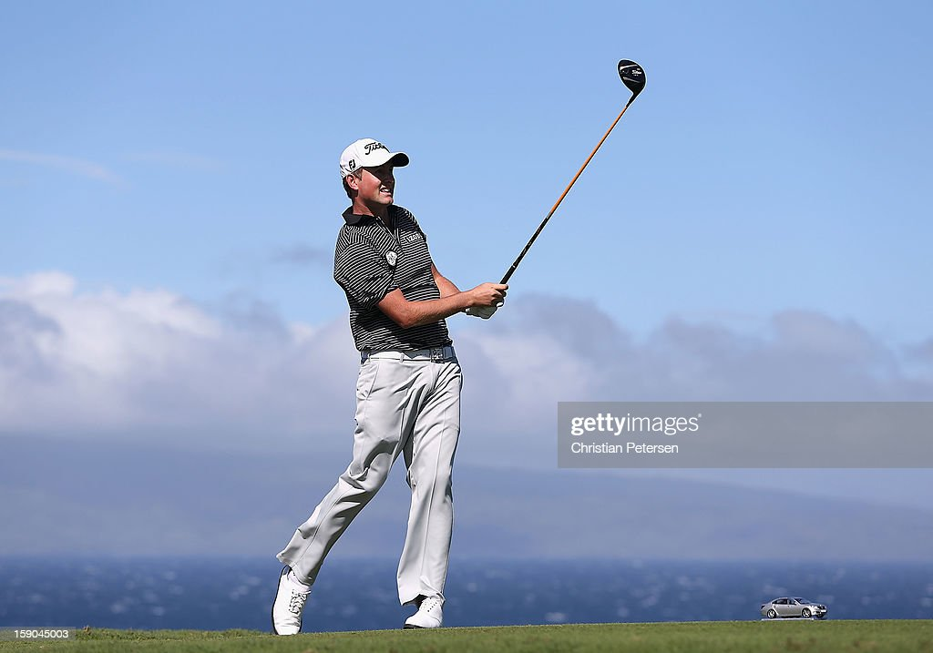Webb Simpson hits a tee shot on the 10th hole during the replay of the first round of the Hyundai Tournament of Champions at the Plantation Course on January 6, 2013 in Kapalua, Hawaii.