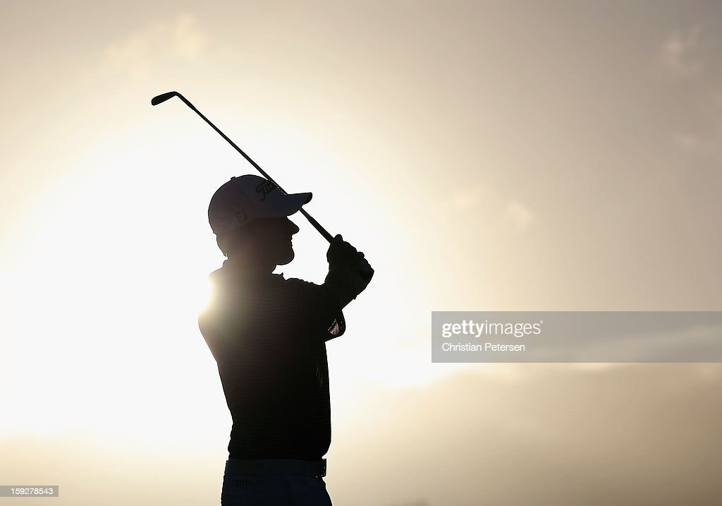 Webb Simpson hits a tee shot on the second hole during the final round of the Hyundai Tournament of Champions at the Plantation Course on January 8, 2013 in Kapalua, Hawaii.