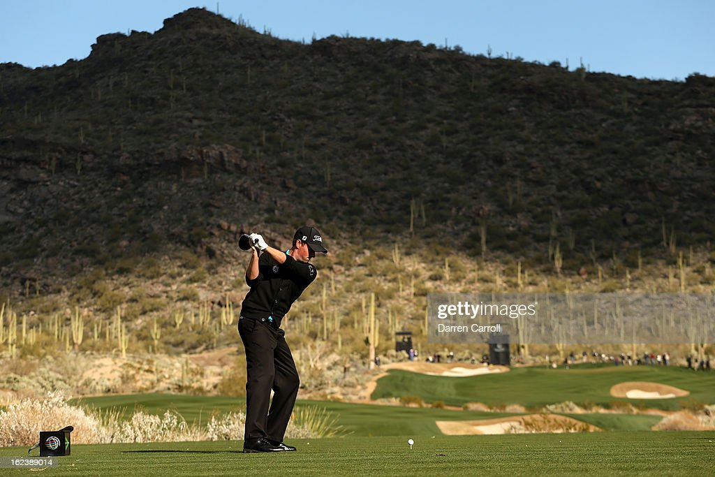 Webb Simpson hits his tee shot on the 15th hole during the second round of the World Golf Championships - Accenture Match Play at the Golf Club at Dove Mountain on February 22, 2013 in Marana, Arizona.