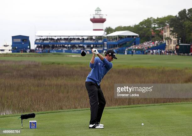 Webb Simpson hits his tee shot on the 18th hole during the first round of the RBC Heritage at Harbour Town Golf Links on April 16 2015 in Hilton Head...