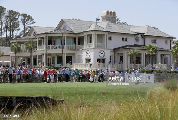 Webb Simpson hits his tee shot on the first hole during the final round of the 2017 RBC Heritage at Harbour Town Golf Links on April 16 2017 in...