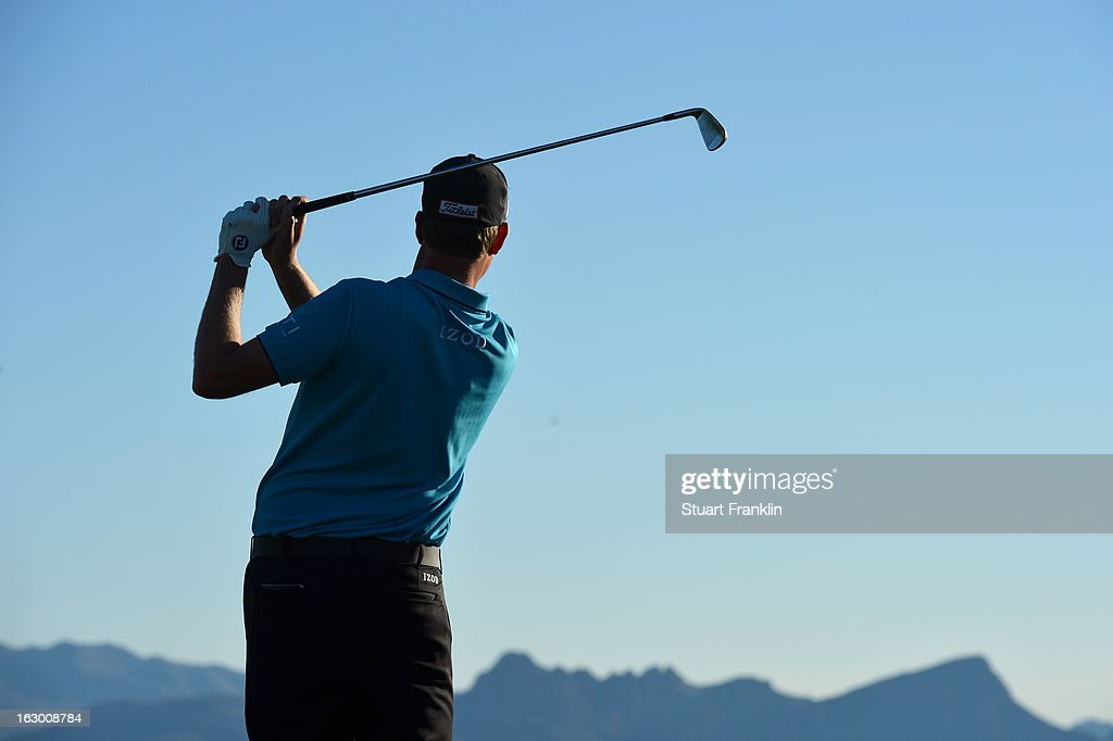<a gi-track='captionPersonalityLinkClicked' href=/galleries/search?phrase=Webb+Simpson&family=editorial&specificpeople=4466575 ng-click='$event.stopPropagation()'>Webb Simpson</a> in action during the second round of the World Golf Championships - Accenture Match Play at the Golf Club at Dove Mountain on February 22, 2013 in Marana, Arizona.