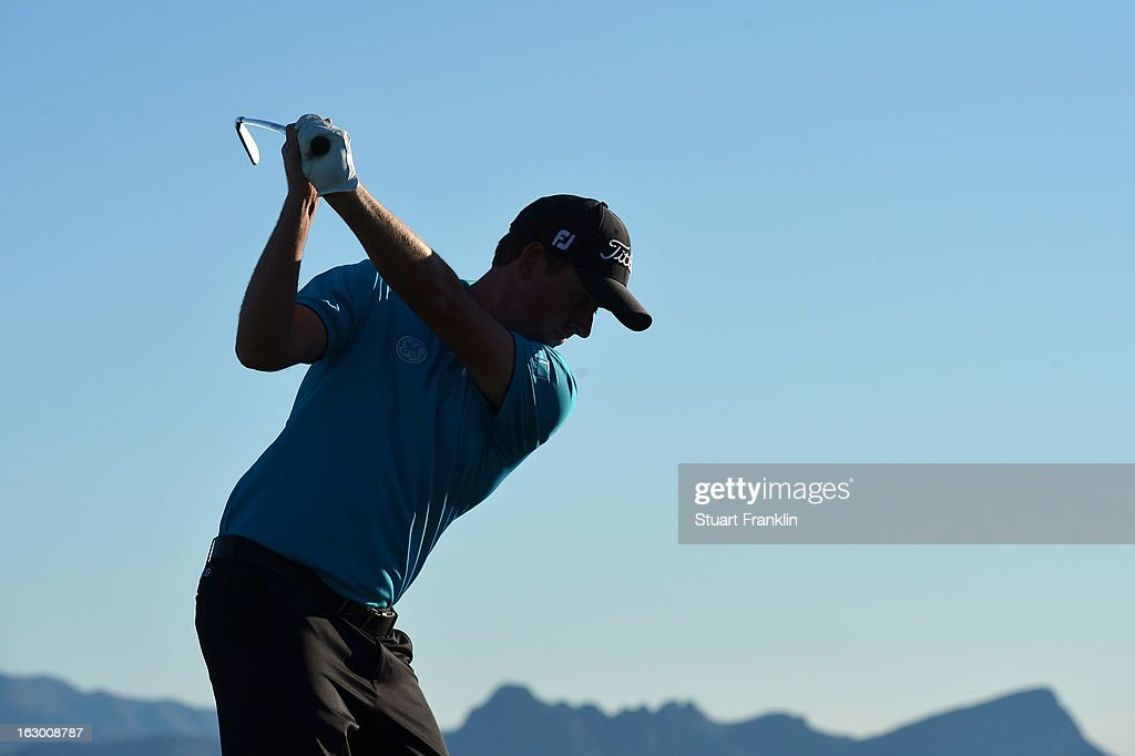 Webb Simpson in action during the second round of the World Golf Championships - Accenture Match Play at the Golf Club at Dove Mountain on February 22, 2013 in Marana, Arizona.