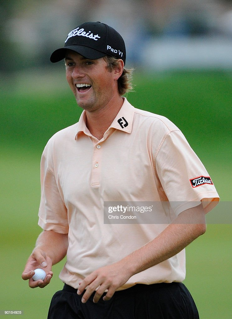 Webb Simpson laughs as he walks off the 7th green during the second round of The Barclays at Liberty National Golf Club on August 28 2009 in Jersey...