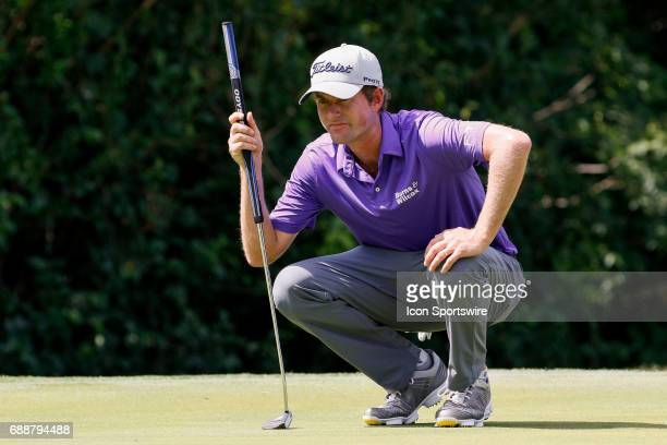 Webb Simpson lines up his birdie putt on during the second round of the Dean Deluca Invitational on May 26 2017 at Colonial Country Club in Fort...