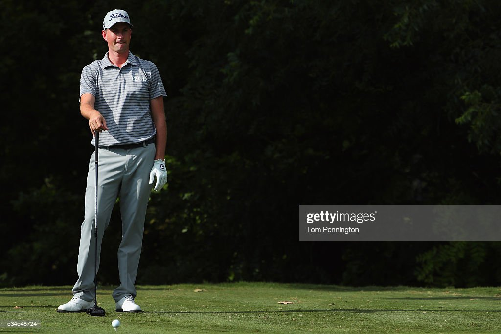 <a gi-track='captionPersonalityLinkClicked' href=/galleries/search?phrase=Webb+Simpson&family=editorial&specificpeople=4466575 ng-click='$event.stopPropagation()'>Webb Simpson</a> looks on before his tee shot on the sixth hole during the First Round of the DEAN & DELUCA Invitational at Colonial Country Club on May 26, 2016 in Fort Worth, Texas.