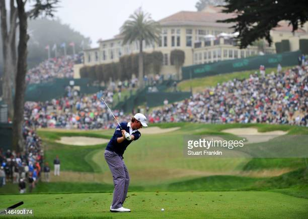 Webb Simpson of the United States hits his tee shot on the eighth hole during the final round of the 112th US Open at The Olympic Club on June 17...