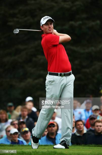 Webb Simpson of the United States watches his tee shot on the seventh hole during the second round of the 95th PGA Championship on August 9 2013 in...