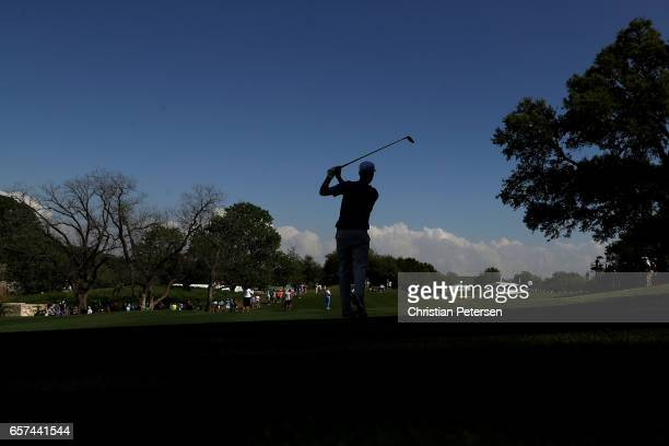 Webb Simpson plays a shot on the 16th hole of his match during round three of the World Golf ChampionshipsDell Technologies Match Play at the Austin...