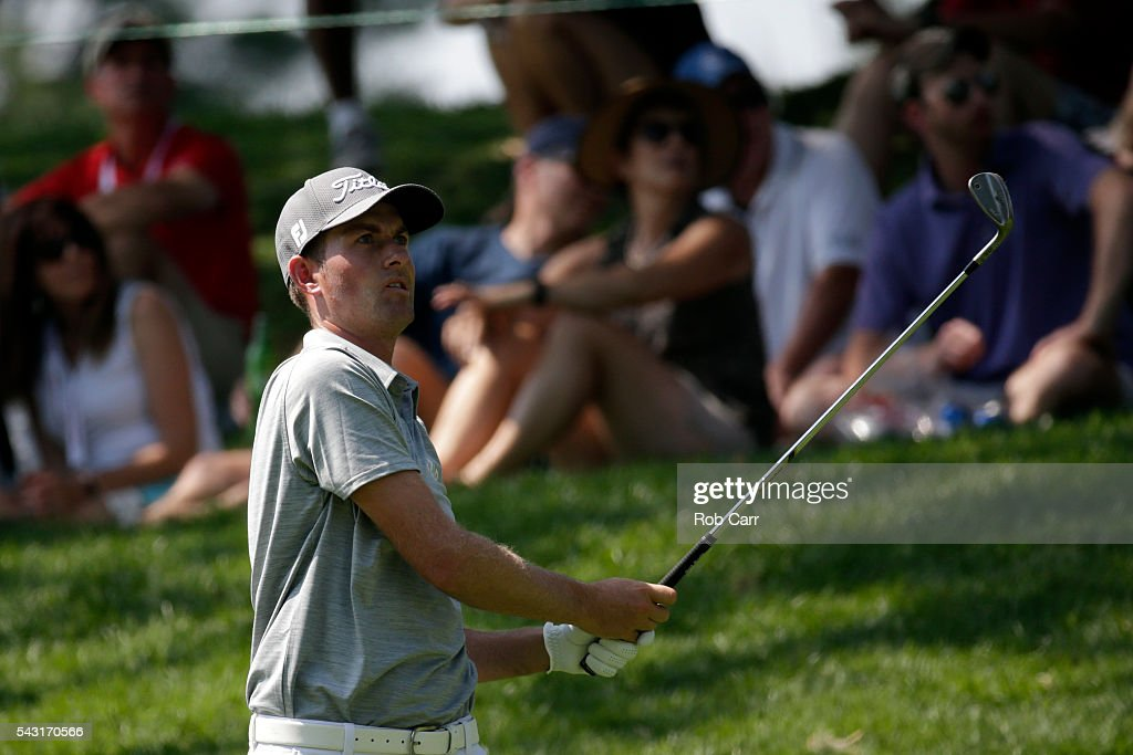 <a gi-track='captionPersonalityLinkClicked' href=/galleries/search?phrase=Webb+Simpson&family=editorial&specificpeople=4466575 ng-click='$event.stopPropagation()'>Webb Simpson</a> plays a shot on the ninth hole during the final round of the Quicken Loans National at Congressional Country Club on June 26, 2016 in Bethesda, Maryland.