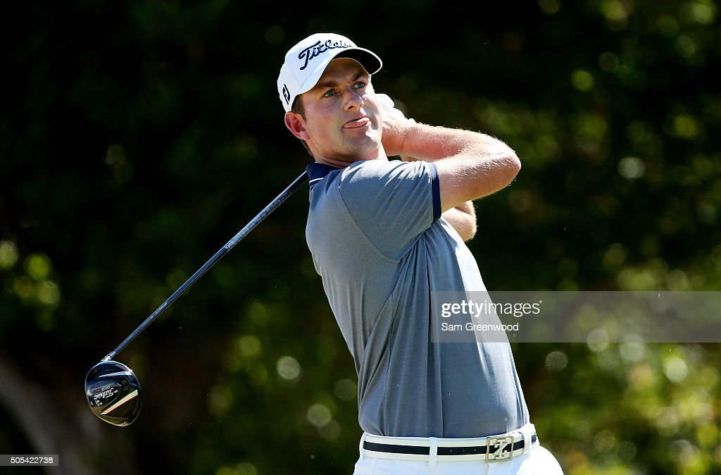 Webb Simpson plays his shot from the first tee during the final round of the Sony Open In Hawaii at Waialae Country Club on January 17 2016 in...