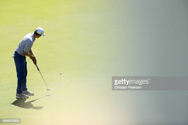 Webb Simpson putts on the 2nd hole of his match during round two of the World Golf ChampionshipsDell Technologies Match Play at the Austin Country...