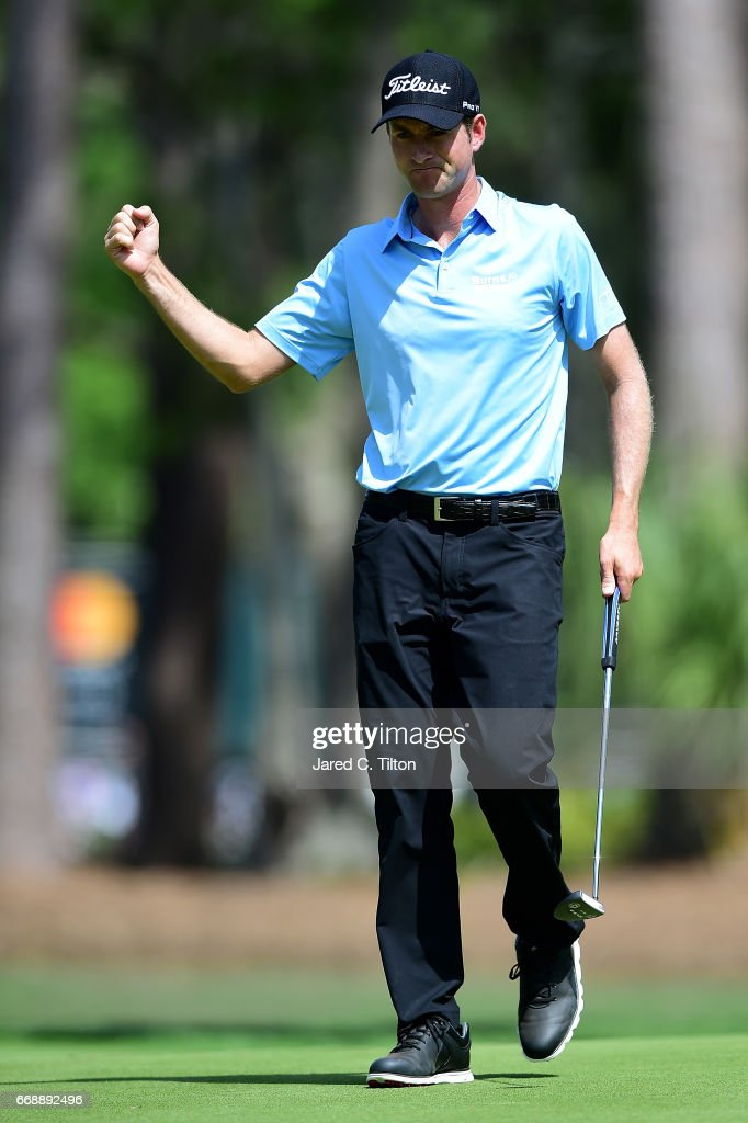 Webb Simpson reacts after making his par putt on the seventh green during the third round of the 2017 RBC Heritage at Harbour Town Golf Links on April 15, 2017 in Hilton Head Island, South Carolina.
