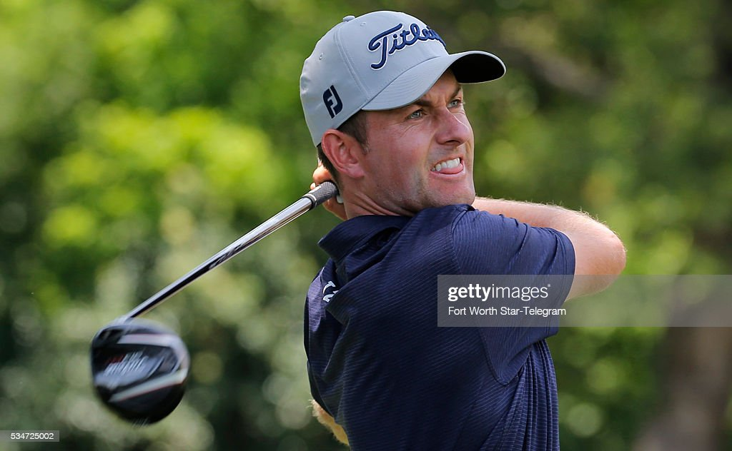 Webb Simpson tees off on the third hole during the second day of the Dean & DeLuca Invitational Golf Tournament at the Colonial Country Club on May 27, 2016 in Fort Worth, Texas.